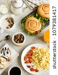 variety of breakfast dishes for ... | Shutterstock . vector #1079381417