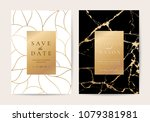 Stock vector luxury wedding invitation cards with gold marble texture and geometric pattern vector design 1079381981