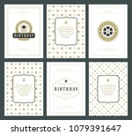 happy birthday cards design set ... | Shutterstock .eps vector #1079391647