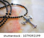 gothic cross in a black onyx... | Shutterstock . vector #1079392199