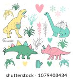 merry christmas dinosaurs and... | Shutterstock .eps vector #1079403434