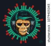 music fan hipster monkey in... | Shutterstock .eps vector #1079405345