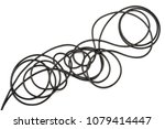 black electric cable on white... | Shutterstock . vector #1079414447