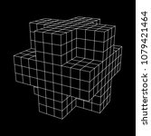 wireframe necker cube. cube of... | Shutterstock .eps vector #1079421464