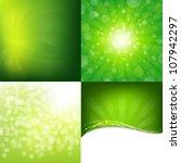 Green Nature Backgrounds Set, Vector Illustration