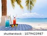 cherry and lemon cocktail set...   Shutterstock . vector #1079423987