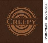 creepy retro wooden emblem | Shutterstock .eps vector #1079430011