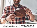 receiving greeting card. close... | Shutterstock . vector #1079430755