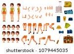 female tourist creation set  ... | Shutterstock .eps vector #1079445035