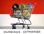 shopping trolley full of... | Shutterstock . vector #1079449385