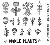 black and white doodle plants... | Shutterstock .eps vector #1079450735