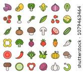 vegetable icon set 2 2  filled...   Shutterstock .eps vector #1079463464