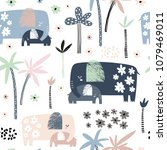 seamless pattern with cute mom... | Shutterstock .eps vector #1079469011
