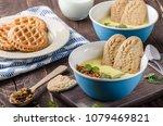 vanilla pudding with homemade... | Shutterstock . vector #1079469821