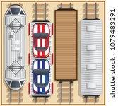 railway locomotive and wagons.... | Shutterstock .eps vector #1079483291