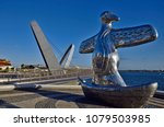 Small photo of PERTH, WA, AUSTRALIA - NOVEMBER 27: Sculpture named First Contact by indigenous artist Laurel Nannup, located on Elizabeth quay, on November 27, 2017 in Perth, Australia