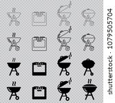 vector oven and grill icons   Shutterstock .eps vector #1079505704