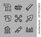 icons architecture with pipe ... | Shutterstock .eps vector #1079512601