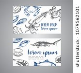 seafood cards template set.... | Shutterstock . vector #1079562101
