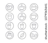 coffee icons with white...   Shutterstock .eps vector #1079565641