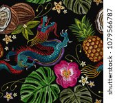 embroidery china dragon  palm... | Shutterstock .eps vector #1079566787