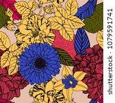 summer flowers pattern design.   Shutterstock .eps vector #1079591741