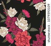 vector floral seamless pattern... | Shutterstock .eps vector #1079593109