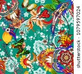 seamless pattern with paisley...   Shutterstock .eps vector #1079597024