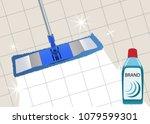 mop cleaning clean floor shiny. ... | Shutterstock .eps vector #1079599301