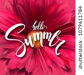 summer poster with handwritten...   Shutterstock .eps vector #1079611784