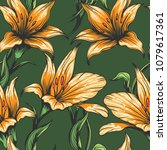 orchids seamless pattern drawn... | Shutterstock .eps vector #1079617361