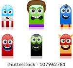vector happy superhero monsters ... | Shutterstock .eps vector #107962781