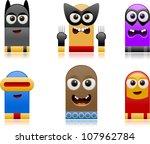 vector happy superhero monsters ... | Shutterstock .eps vector #107962784