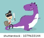businessman fighting dinosaurs... | Shutterstock .eps vector #1079633144