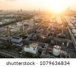 aerial view of twilight of oil... | Shutterstock . vector #1079636834
