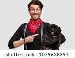 Small photo of Look at my lovely pet! Positive stylish male model in elegant clothes, indicates at black pug dog with elegant bandana, happy to have walk together, isolated on white background. People and animals