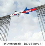 South and North Korea peace agreement diplomatic success concept as an east asia diplomacy symbol for denuclearization on the korean peninsula as a 3D illustration.
