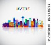 seattle skyline silhouette in... | Shutterstock .eps vector #1079650781