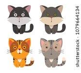 set of cartoon cats   funny... | Shutterstock .eps vector #1079664134