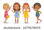full length of cute little... | Shutterstock .eps vector #1079678555