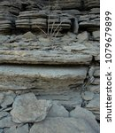 Small photo of Ozarks, Arkansas - March 3 2017: Hobbs State Park Lakeside Slate Rock Formations