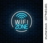 neon sign of free wifi zone in... | Shutterstock .eps vector #1079681681