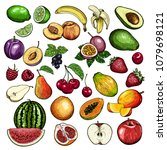 hand drawn fruits and berries... | Shutterstock .eps vector #1079698121