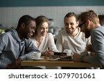 millennial girl showing funny... | Shutterstock . vector #1079701061