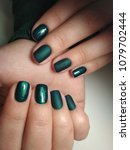 green manicure with matte... | Shutterstock . vector #1079702444