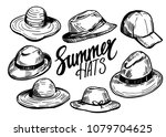 set of hats. hand drawn sketch... | Shutterstock .eps vector #1079704625