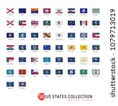50 us states vector flag set.... | Shutterstock .eps vector #1079713019