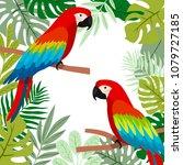 illustration with cute cartoon... | Shutterstock .eps vector #1079727185
