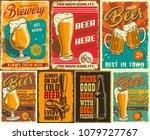 set of beer poster in vintage... | Shutterstock . vector #1079727767