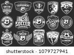 set of soccer emblems in... | Shutterstock . vector #1079727941